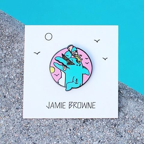 "It's about that time...🐬🍺🐬🍺 ""Drunk Dolphin"" pins in the online store. Link in my bio👈 #jamiebrowneart #weekend #drunkdolphin #partyonporpoise #bottlenose #poolside #tins #beers #partytime #friday #lapelpin #pins #lastcall #jb"
