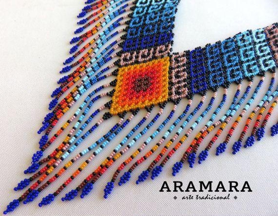 Mexicana Huichol cuentas tribales collar COG-0017 por Aramara