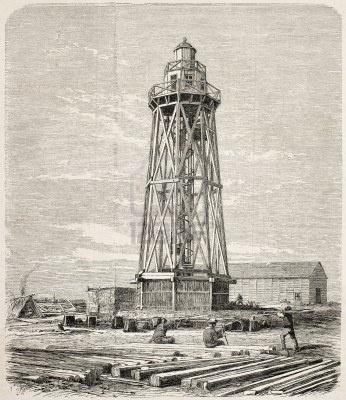 Faro de Port Said. Ilustración de Blanchard y Anastasi. Fue publicado en L'Illustration Universel, París, 1860