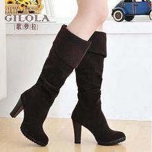 Nuevo 2016 de la moda sexy señoras de los altos talones de las mujeres plataforma de la rodilla botas de nieve de las mujeres patea los zapatos de otoño mujer negro # Y1100012F(China (Mainland))