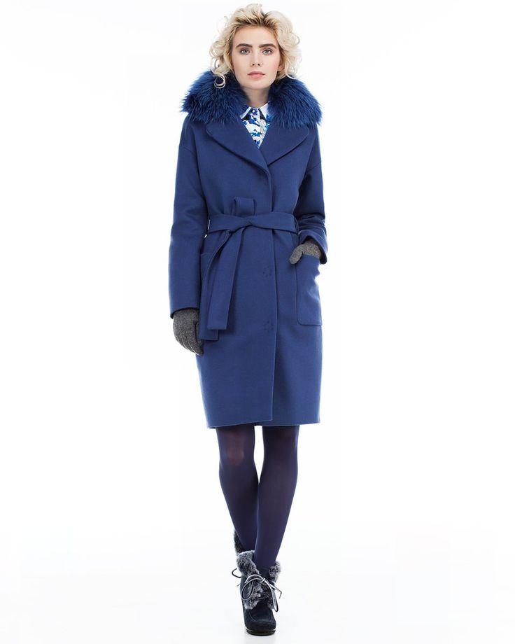 Пальто прямого силуэта, синее. Модный дом Ekaterina Smolina.