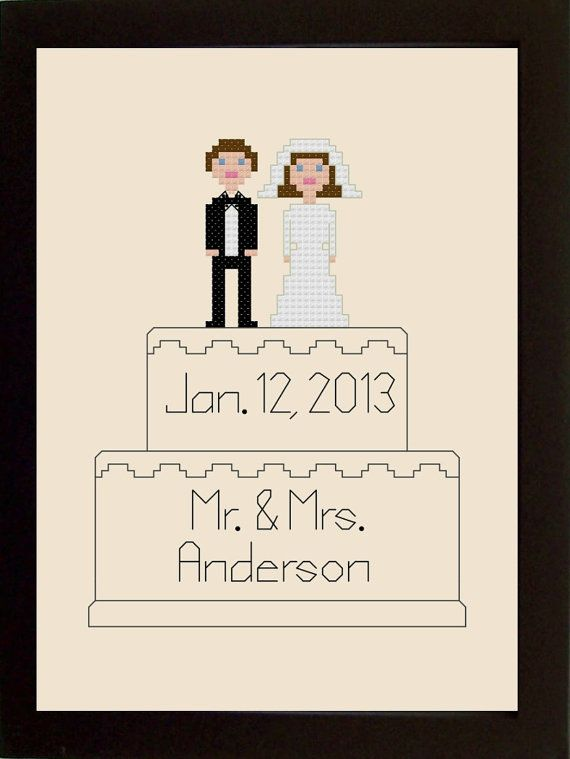 Wedding Cross Stitch Pattern Cake Topper by threadsandthings1, $5.00