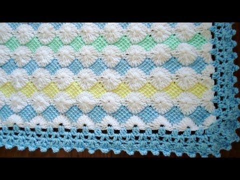Mantita de Bebé en Punto Tunecino y Crochet (Parte 4) - YouTube