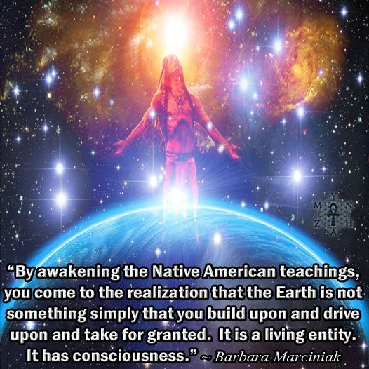 """""""By awakening the Native American teachings, you come to the realization that the Earth is not something simply that you build upon and drive upon and take for granted. It is a living entity. It has consciousness."""" ~ Barbara Marciniak"""