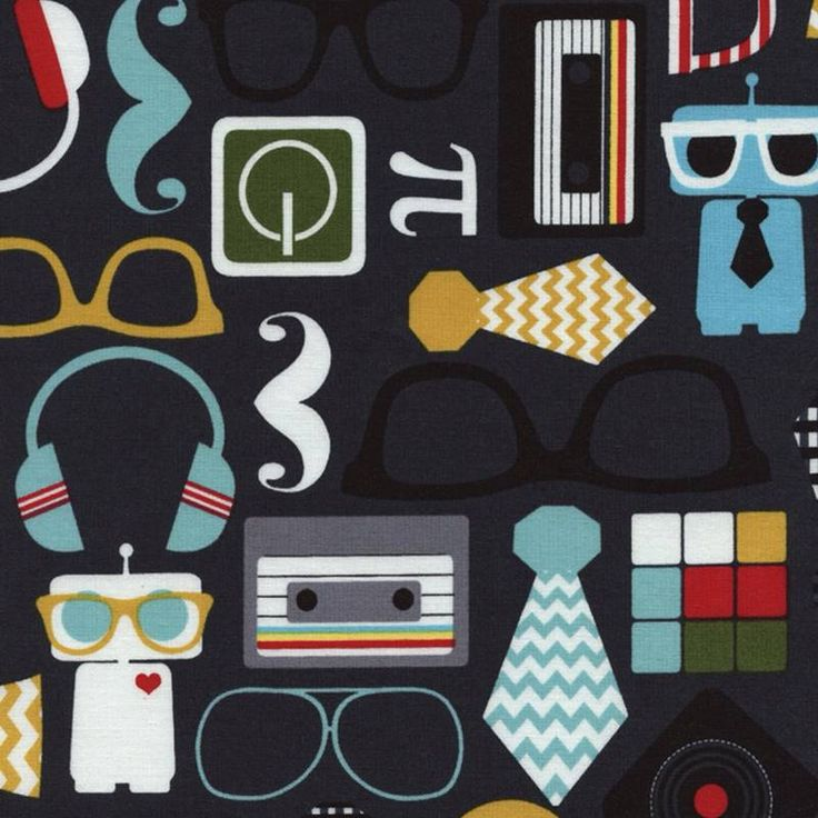 Timeless Treasures Geeky Hipster retro print. Cotton
