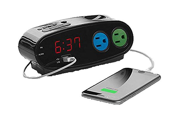 Sharp Alarm with USB and Outlets, Black Review | Alarm