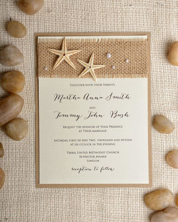 Estrelas do mar e pérolas para o convite de casamento na praia ;-)