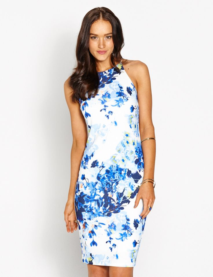 Image for Blue Bloom Midi Bodycon from Dotti