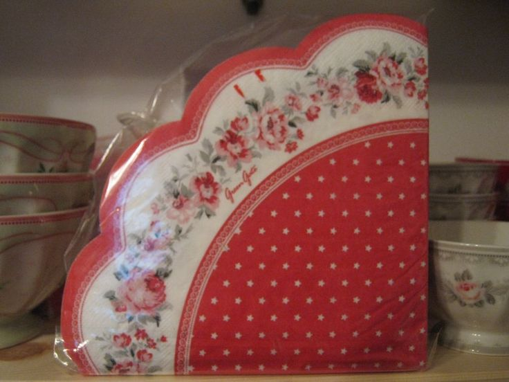 Greengate tovaglioli carta rossi  Paper napkin white round 20 pcs