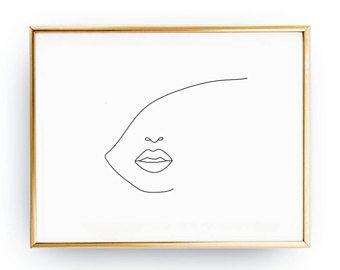 Gesicht & große Lippen, schwarz und weiß, Skizze Kunst Linie Zeichnung drucken, abstrakte weibliches Gesicht, Minimal Art, einfache Art und Weise, F…