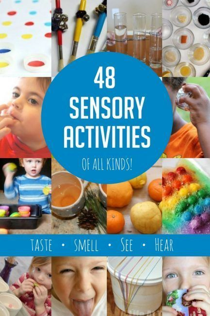 Sensory activities are a must for young kids, especially young toddlers and even babies. Here are 48 ways to explore the 4 forgotten non-touch senses.