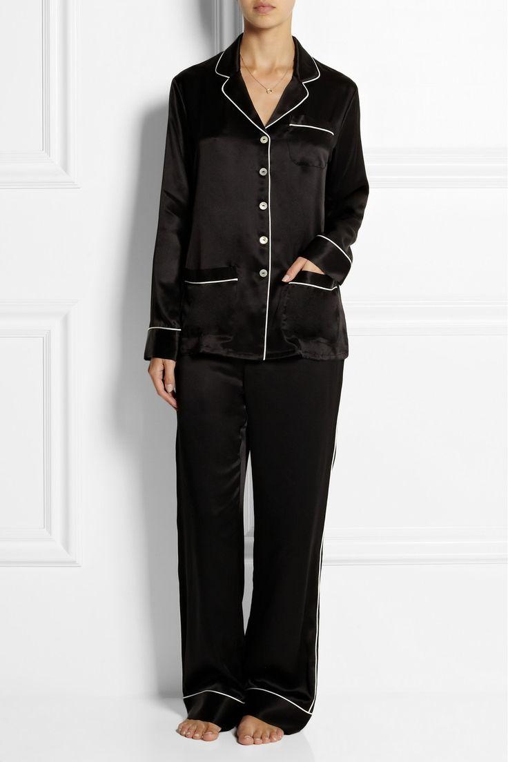 Olivia von Halle|Coco silk-satin pajama set(via Net-a-Porter.com)