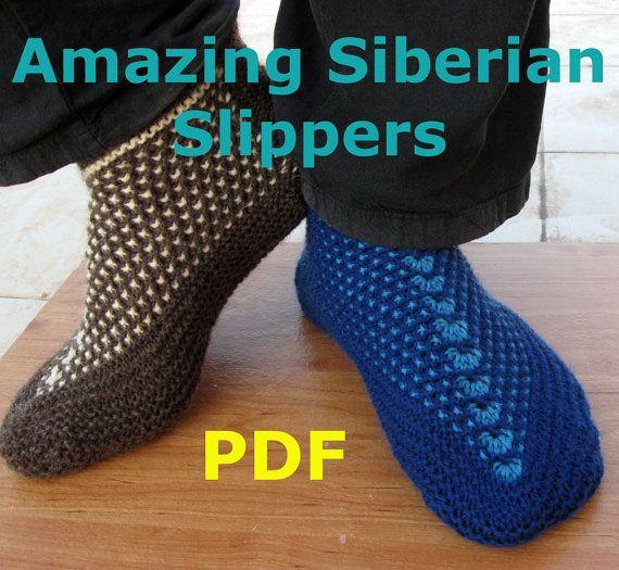 Knitting Pattern - Amazing Siberian Slippers - PDF pattern - Seamless Slipper...