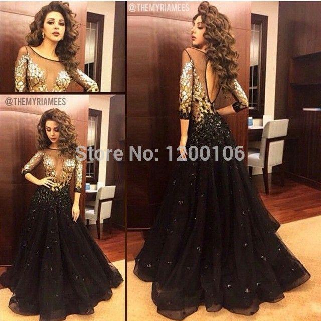 Sexy линии арабский Myriam тарифы знаменитости платья с золотыми блестками бусины половина рукав длинный вечерние платья