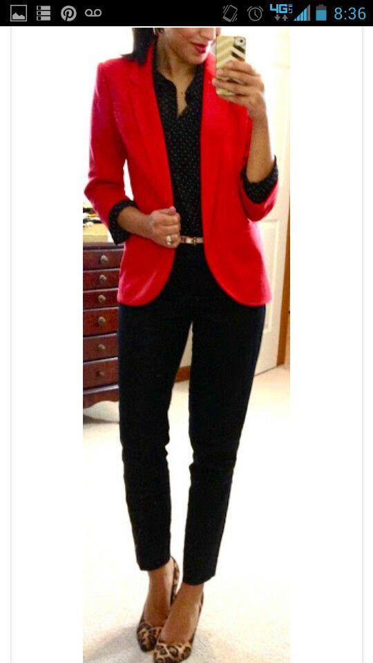 red blazer with leopard accents combinaciones pinterest moda ropa y ropa ejecutiva. Black Bedroom Furniture Sets. Home Design Ideas