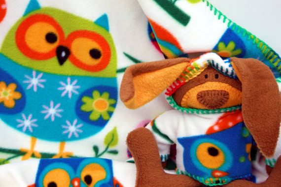 Whooo's Bunny Are You Security Blanket, Baby Blanket with Toy Bunny -  owl, rainbow, ofg, canteam, handmade