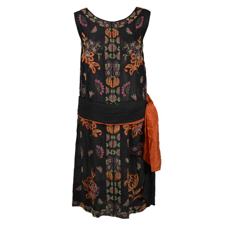 1920s Silk Chiffon Botanical Beaded Dress with Pleated Sash   1stdibs.com