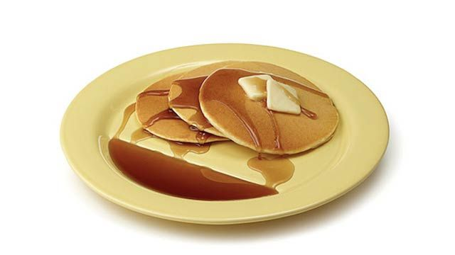 I've Been Waiting All My Life for This Kind of Advancement in Pancake Plate Technology - plate holds the syrup for dipping.