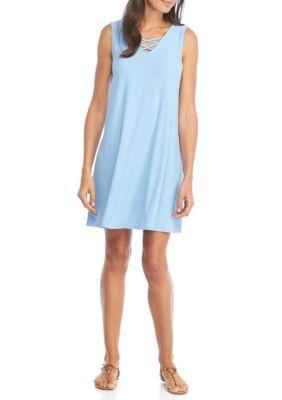 New Directions Women's Sleeveless Swing Dress - Blue - Xl