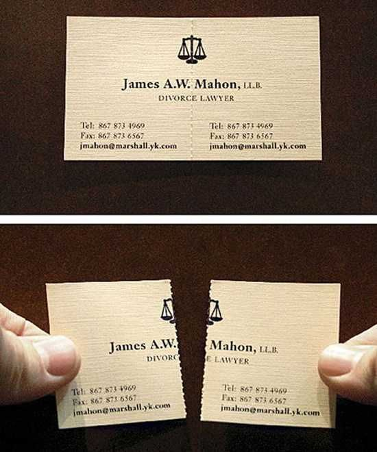 A divorce lawyer's business card. How creative!