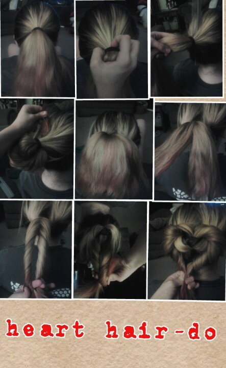 Put you hair in a pony tail, turn it inside out, separate the pony into 2 pieces and twist them. Then wrap the pieces around the hair tie in the shape of a heart and put an elastic band around the end.