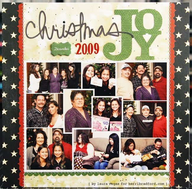 Kerri Bradford Studio Christmas Joy Scrapbook Layout by Laura Vegas.