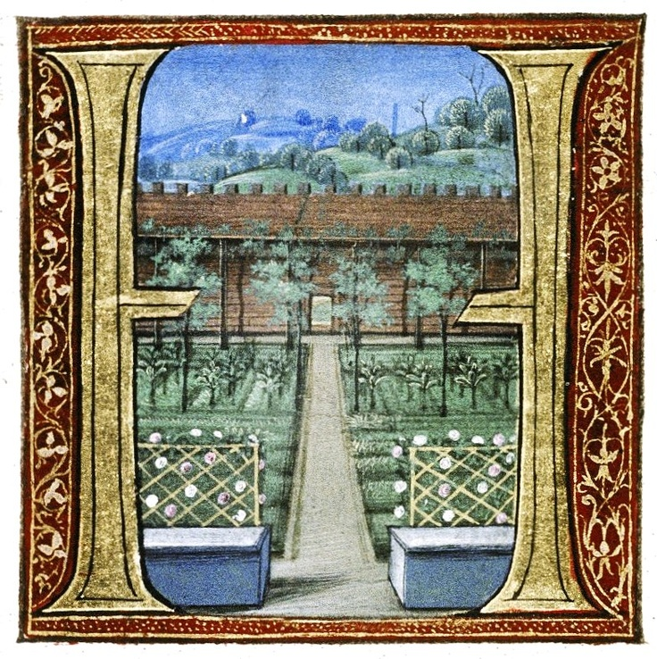 """Capital from the Douce Pliny (printed edition of Pliny's """"Natural History"""" translated by Cristoforo Landino, printed by Nicolas Jensen in Venice in 1476, and illuminated), ex. Bodleian Douce MS 310"""