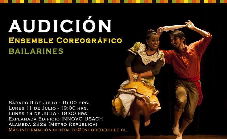 Ensemble Coreográfico invita a todos quienes tengan alguna experiencia en danza folklórica y contemporanea, a participar de la audición abierta para conformar el elenco estable de ENCORE, dirigida por el descatacado director nacional, Carlos Reyes Zárate.  Los horarios de audición son:  -Sábado 9 de julio, a las 15:00 hrs. -Lunes 11 de julio, a las 19:00 hrs. -Lunes 18 de julio, a las 19:00 hrs.  La actividad se realizará en el edificio INNOVO, ubicado en Alameda #2229, a pasos del Metro