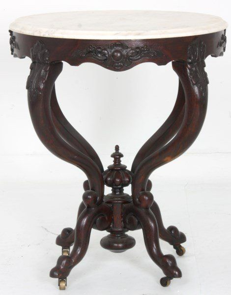 C1850 Rococo Lamp Table, Attr JH Belter, NYC, Oak, Laminated, 25rnd. Marble  Top ...