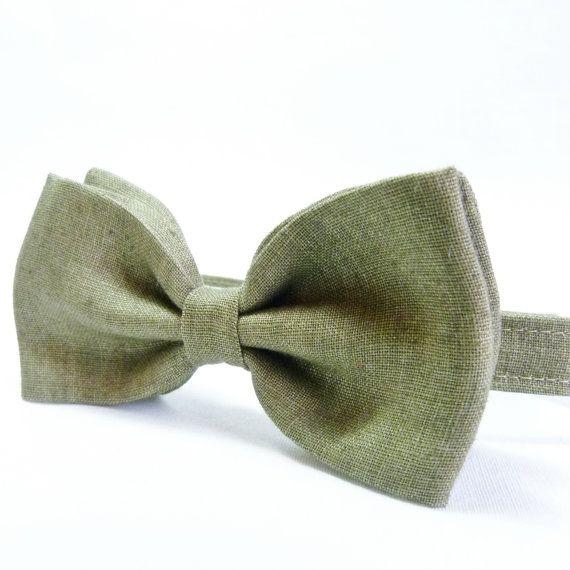 Men's Bow Tie - Olive Green Irish Linen, pretied bow tie, wedding accessory