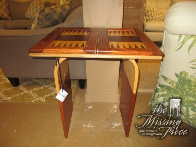 """Contemporary style two toned wood game table. Super unique! Game tables like this don't come in often. Comes with the game pieces. 25""""wide x 20""""deep x 29""""high. Sold for $800 new! Great buy. Arrived: Monday November 14th, 2016"""