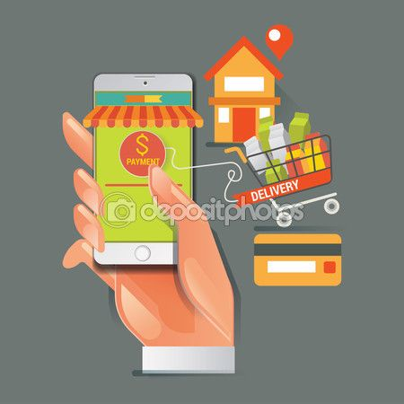 Colorful vector illustration concept for online ordering of food. delivery vector illustration concept for grocery delivery — Stock Vector © kupritz #123535828
