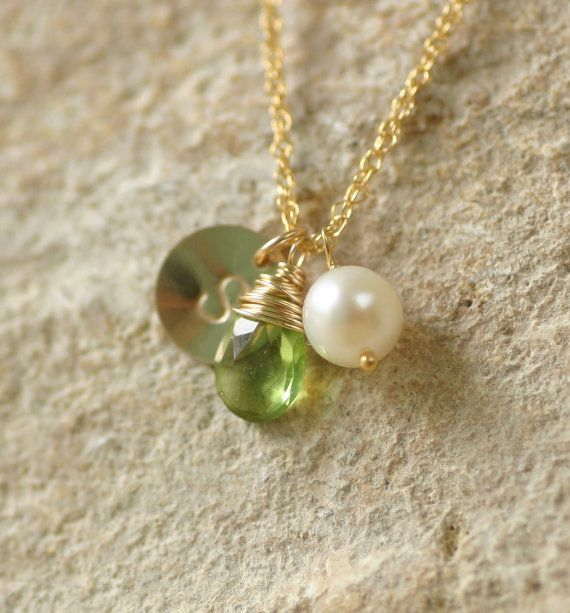 Personalized peridot necklace, August birthstone necklace, personalized bridesmaid gift, monogram necklace - Ella