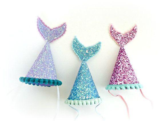 Mermaid Birthday Party Hat Mermaid Tail Glitter by littleblueolive