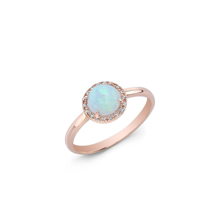 ICONERY   Anne Sisteron 14K Rose Gold Opal Solitaire Ring