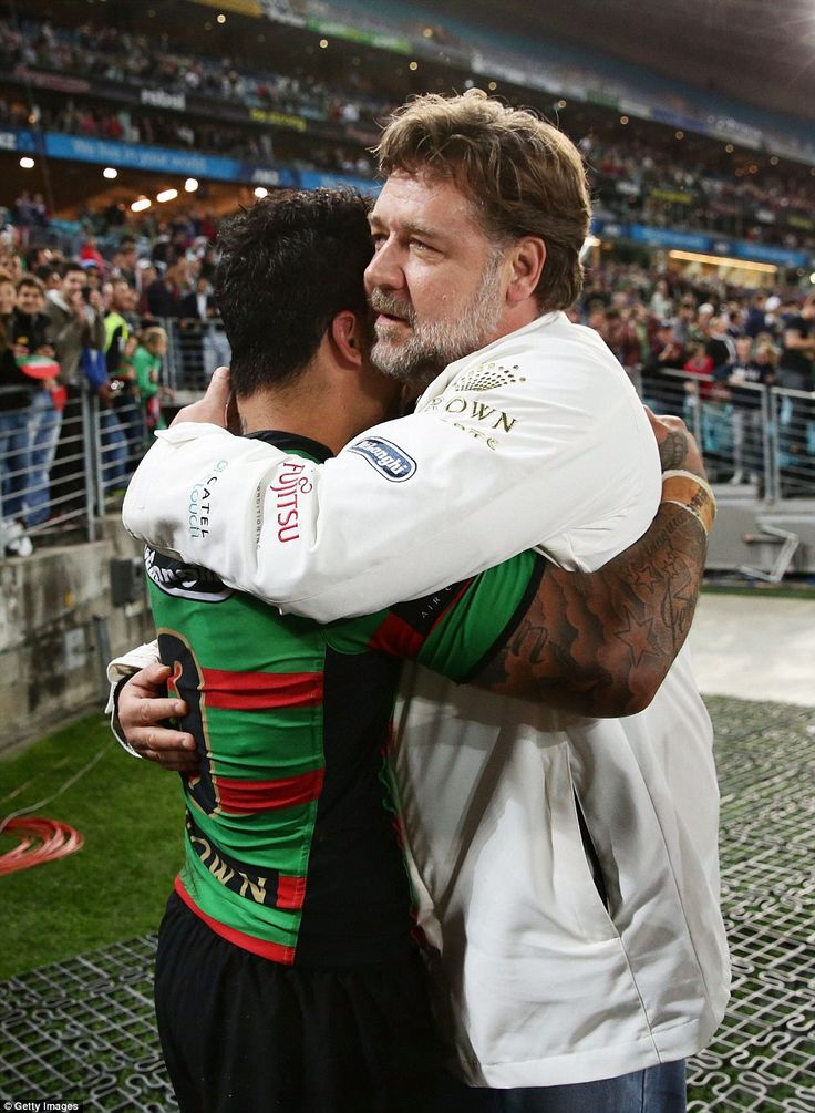 South Sydney Rabbitohs bounce into NRL grand final: South's hooker Isaac Luke is embraced by club owner Russell Crowe after the match