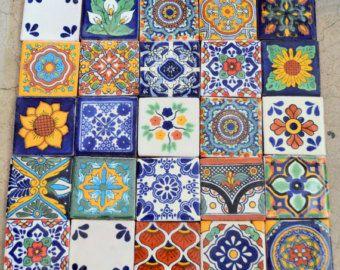 12 Mexican Talavera Tiles Handmade Hand Painted 2 X Etsy Talavera Tiles Mexican Talavera Talavera