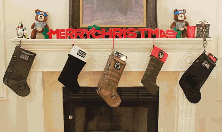 MILITARY CHRISTMAS STOCKINGS (LA Police Gear): Bring some tactical cheer to your fireplace, foxhole, police department, or forward operating base! Comes in Black, Coyote, and OD Green. $14.99  www.operationwearehere.com/deploymentproducts.html