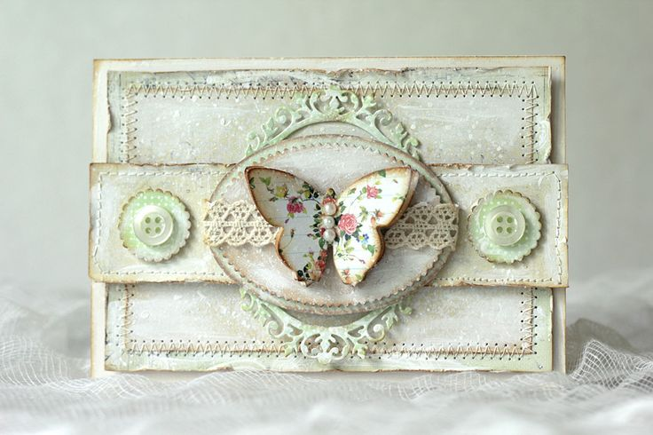 Shabby chic card with a butterfly - Pastellipäivä.