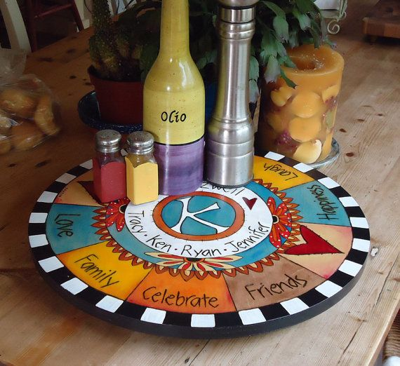 Hand Painted Lazy Susan Wood Personalized with Wood by spfdesign, $240.00