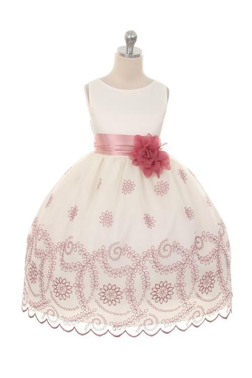 Sofia, bruidsmeisjes jurk met prachtige geborduurde bloemen in oud roze kleur. Kinderbruidsmode, kinderbruidskleding, bruidsmeisjes jurken, bruidsmeisjes jurk, bruidskinderen, bruidskinderkleding, flower girls.