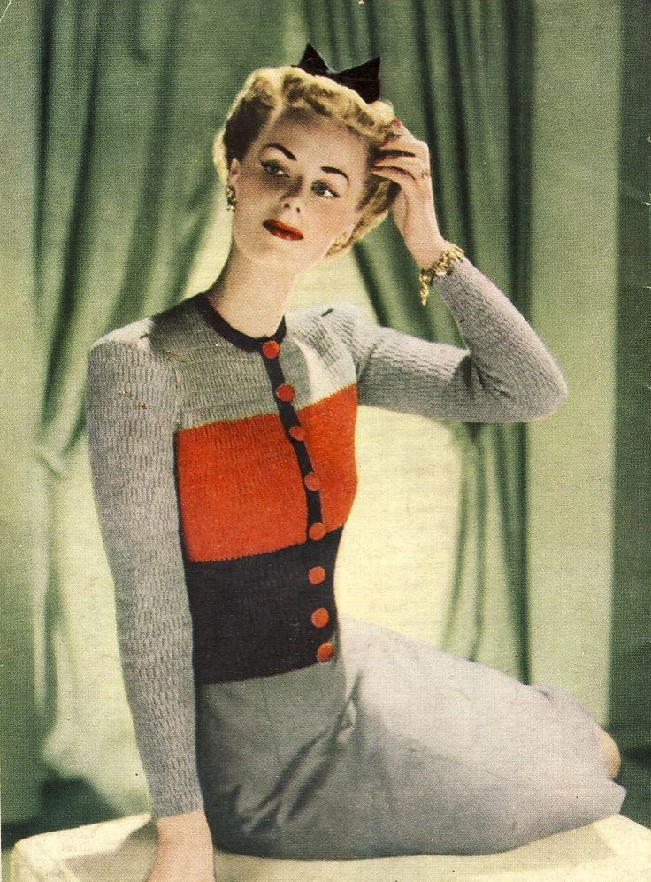 Knitting pattern for a ladie's jumper. Photo from Stitchcraft magazine, February 1943. (Back cover). #1940s #knitting #stitchcraft