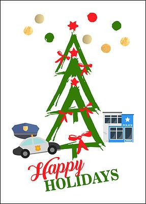 "Reach out to members of the community this holiday season with the Police Tree Holiday Card. Perfect for law enforcement professionals looking to strengthen community ties and establish a sense of camaraderie, the Police Tree Holiday Card features a green Christmas tree with red bows, red stars, a police station, a cop car, and a policeman's hat. Printed on glossy card stock, this 5"" x 7"" card comes with many free upgrades, allowing you to add your company name, include a personal message…"