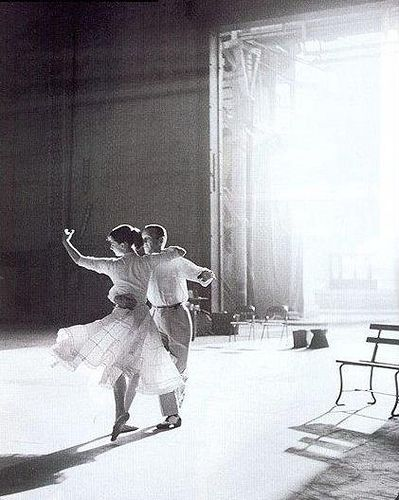 Fred Astaire and Audrey Hepburn dancing on the set of funny face.
