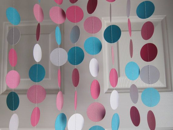 Pink and Turquoise Paper Garland, Baby Shower Garland, Paper Garland, Party Decorations, Gender Reveal Party
