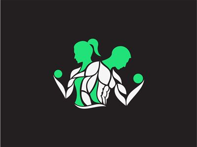 Logo concept for fitness brand. Green muscles and barbells.