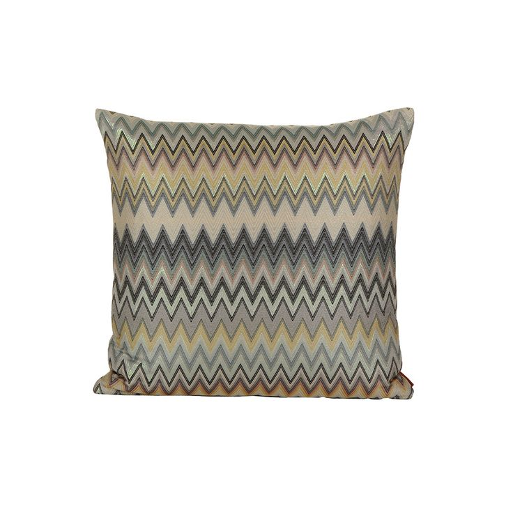 This Missoni HomeMasuleh cushion featuresthe iconic Missoni zigzag stripe design, (may vary slightly from image due to cut of fabric). The dark tones of grey, yellow, black and cream are enhanced...