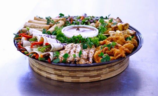 Asian Platter: Chicken Spring rolls Peanut chicken sauté  Panko prawns Teriyaki chicken wings Chicken and pineapple skewers Sweet chili beef hand rolls