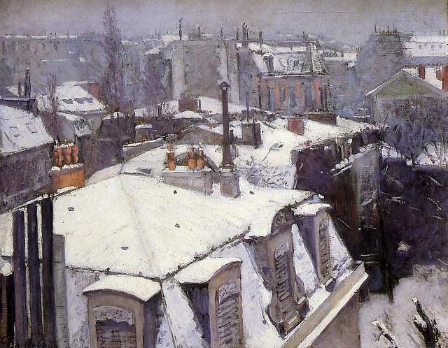 Vue de toits, effet de neige - Gustave Caillebotte - Impressionism