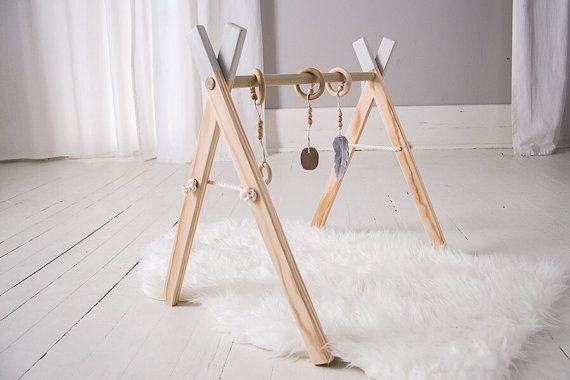 Baby Play Gym - Baby Mobile - Aktivität Babygym - Holz spielen Babygym - Activity Gym - Baby-Geschenk - Stein - Geschlecht neutral - First Christmas
